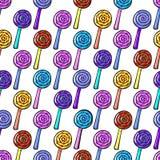 Άνευ ραφής σχέδιο με Lollypops Στοκ Φωτογραφία