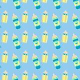 Άνευ ραφής σχέδιο μπουκαλιών μωρών Στοκ Εικόνα