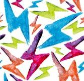 Άνευ ραφής σχέδιο μπουλονιών αστραπής Watercolor Στοκ Εικόνες