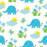 Άνευ ραφής σχέδιο ντους μωρών με το χαριτωμένους ελέφαντα, την πεταλούδα, τα λουλούδια, και τον ήλιο ελεύθερη απεικόνιση δικαιώματος