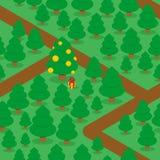 Άνευ ραφής σχέδιο ξύλων και ιχνών Μεγάλο διακοσμημένο χριστουγεννιάτικο δέντρο Στοκ Φωτογραφίες