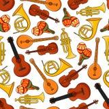Άνευ ραφής σχέδιο οργάνων εξοπλισμού μουσικής ελεύθερη απεικόνιση δικαιώματος