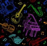 Άνευ ραφής σχέδιο οργάνων μουσικής Στοκ Φωτογραφία