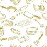 Άνευ ραφής σχέδιο ουσίας κουζινών Στοκ Εικόνα