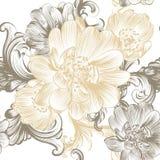 Άνευ ραφής σχέδιο λουλουδιών με συρμένα τα χέρι λουλούδια στα χρώματα κρητιδογραφιών Στοκ φωτογραφία με δικαίωμα ελεύθερης χρήσης