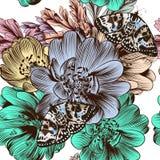 Άνευ ραφής σχέδιο λουλουδιών με συρμένα τα χέρι λουλούδια Στοκ Φωτογραφία