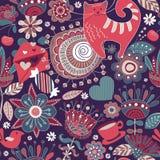 Άνευ ραφής σχέδιο λουλουδιών με τα διακοσμητικά στοιχεία Στοκ Εικόνες