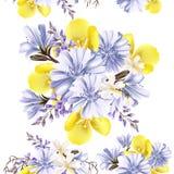 Άνευ ραφής σχέδιο λουλουδιών με τα λουλούδια Στοκ φωτογραφίες με δικαίωμα ελεύθερης χρήσης
