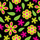 Άνευ ραφής σχέδιο λουλουδιών με τα πράσινα και ρόδινα λουλούδια στο μαύρο υπόβαθρο για την ταπετσαρία διανυσματική απεικόνιση