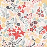 Άνευ ραφής σχέδιο λουλουδιών με τα χαριτωμένα στοιχεία Στοκ εικόνα με δικαίωμα ελεύθερης χρήσης