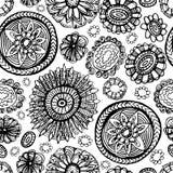 Άνευ ραφής σχέδιο λουλουδιών Doodles Στοκ Εικόνα