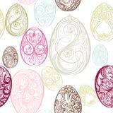 Άνευ ραφής σχέδιο Πάσχας με τα αυγά από τους στροβίλους Στοκ Φωτογραφίες
