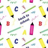 Άνευ ραφής σχέδιο πίσω στο σχολείο στενές σχολικές προμήθειες μοιρογνωμόνιων πυξίδων επάνω Στοκ φωτογραφία με δικαίωμα ελεύθερης χρήσης