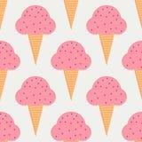 Άνευ ραφής σχέδιο παγωτού στο επίπεδο ύφος Στοκ Εικόνες