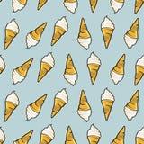 Άνευ ραφής σχέδιο παγωτού Συρμένο χέρι αναδρομικό ύφος στοκ εικόνες με δικαίωμα ελεύθερης χρήσης