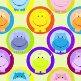 Άνευ ραφής σχέδιο παιδιών με τη διανυσματική απεικόνιση hippo Στοκ Εικόνα