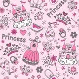 Άνευ ραφής σχέδιο περιγραμματικό Doodl πριγκηπισσών παραμυθιού ελεύθερη απεικόνιση δικαιώματος