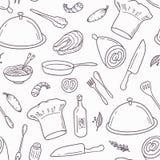 Άνευ ραφής σχέδιο περιλήψεων με συρμένα τα χέρι τρόφιμα διανυσματική απεικόνιση