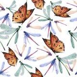 Άνευ ραφής σχέδιο πεταλούδων Watercolor στοκ εικόνα