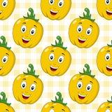 Άνευ ραφής σχέδιο πιπεριών κινούμενων σχεδίων κίτρινο Στοκ Εικόνες