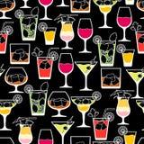 Άνευ ραφής σχέδιο ποτών και κοκτέιλ οινοπνεύματος μέσα Στοκ Εικόνα