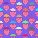 Άνευ ραφής σχέδιο που αποτελείται από τις εύθυμες καρδιές κάτω από το ζωηρόχρωμο um Στοκ Φωτογραφία