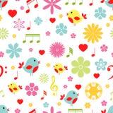 Άνευ ραφής σχέδιο πουλιών λουλουδιών και σημειώσεων μουσικής Στοκ Εικόνα