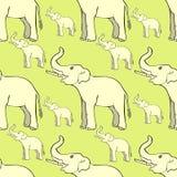 Άνευ ραφής σχέδιο που χαμογελά τον ελέφαντα λοξά επάνω ο κορμός VE ελεύθερη απεικόνιση δικαιώματος
