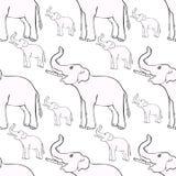 Άνευ ραφής σχέδιο που χαμογελά τον ελέφαντα λοξά επάνω ο κορμός VE διανυσματική απεικόνιση