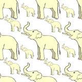 Άνευ ραφής σχέδιο που χαμογελά τον ελέφαντα λοξά επάνω ο κορμός VE απεικόνιση αποθεμάτων