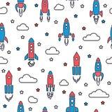 Άνευ ραφής σχέδιο πυραύλων στο ύφος κινούμενων σχεδίων Στοκ εικόνες με δικαίωμα ελεύθερης χρήσης