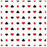 Άνευ ραφής σχέδιο πόκερ με τα κοστούμια καρτών διανυσματική απεικόνιση