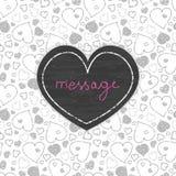Άνευ ραφής σχέδιο πλαισίων καρδιών τέχνης πινάκων κιμωλίας Στοκ εικόνα με δικαίωμα ελεύθερης χρήσης