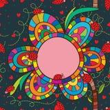 Άνευ ραφής σχέδιο πλαισίων λουλουδιών Ladybug Στοκ Εικόνες
