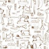Άνευ ραφής σχέδιο, ράβοντας εργαλεία Στοκ εικόνες με δικαίωμα ελεύθερης χρήσης