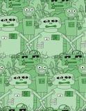 Άνευ ραφής σχέδιο ρομπότ κινούμενων σχεδίων Στοκ Εικόνα