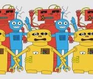Άνευ ραφής σχέδιο ρομπότ κινούμενων σχεδίων Στοκ εικόνες με δικαίωμα ελεύθερης χρήσης