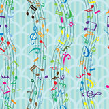 Άνευ ραφής σχέδιο σημειώσεων μουσικής Στοκ Εικόνες