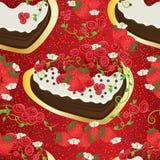 Άνευ ραφής σχέδιο σιροπιού φραουλών κέικ ελεύθερη απεικόνιση δικαιώματος