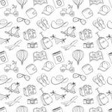 Άνευ ραφής σχέδιο σκίτσων θερινών διακοπών doodle μαύρο λευκό Στοκ Φωτογραφίες