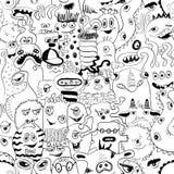 Άνευ ραφής σχέδιο σκίτσων με τα αστεία τέρατα Στοκ φωτογραφία με δικαίωμα ελεύθερης χρήσης