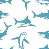 Άνευ ραφής σχέδιο σκιαγραφιών καρχαριών Στοκ φωτογραφία με δικαίωμα ελεύθερης χρήσης