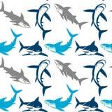 Άνευ ραφής σχέδιο σκιαγραφιών καρχαριών Στοκ Εικόνα