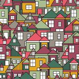 Άνευ ραφής σχέδιο σπιτιών Στοκ Εικόνες