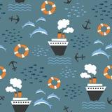 Άνευ ραφής σχέδιο στο θαλάσσιο θέμα Στοκ Φωτογραφία
