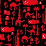 Άνευ ραφής σχέδιο συμβόλων της Τουρκίας Τουρκική εθνική διακόσμηση Στοκ Εικόνες