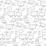 Άνευ ραφής σχέδιο συσκευών Kawaii Στοκ Εικόνες