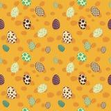 Άνευ ραφής σχέδιο σχεδίου αυγών Πάσχας κίτρινο Στοκ Εικόνα