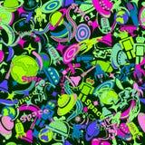Άνευ ραφής σχέδιο σχεδίου στο θέμα της εξερεύνησης του διαστήματος κινούμενα σχέδια, που σύρονται στο ύφος των doodles Στοκ εικόνες με δικαίωμα ελεύθερης χρήσης
