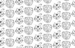 Άνευ ραφής σχέδιο σχεδίων κεφαλιών ζώων της αρπακτικών άγριων τίγρης και του λιονταριού ζώων γατών Χέρι που χρωματίζεται Γραπτό ζ Στοκ εικόνες με δικαίωμα ελεύθερης χρήσης